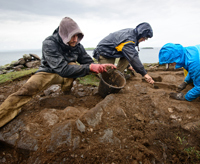 Ryan Lash '10 and team members excavate the area around Clochan Leo, a medieval shrine